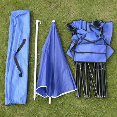 Folding Style Blue Outdoor Beach Fishing Chair with Umbrella