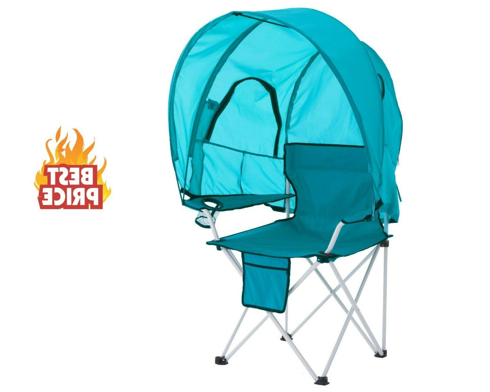 Portable Folding Beach Canopy Chair, Cup Holders Bag Camping