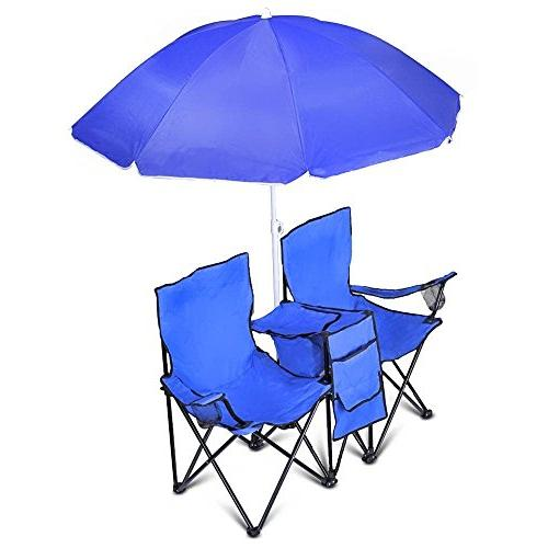 COSTWAY Portable Folding Double Chair Cooler Beach Chair by Goplus