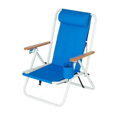 Backpack Fold Beach Chair wIth Adjustable Padded Headrest&Cu