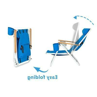Portable Chair with Headrest Blue