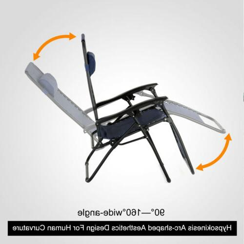 Portable Patio Table Set Zero Gravity Recline Lounge Chair