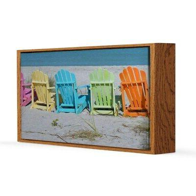 rainbow beach chairs 20x30 canvas print 440650238
