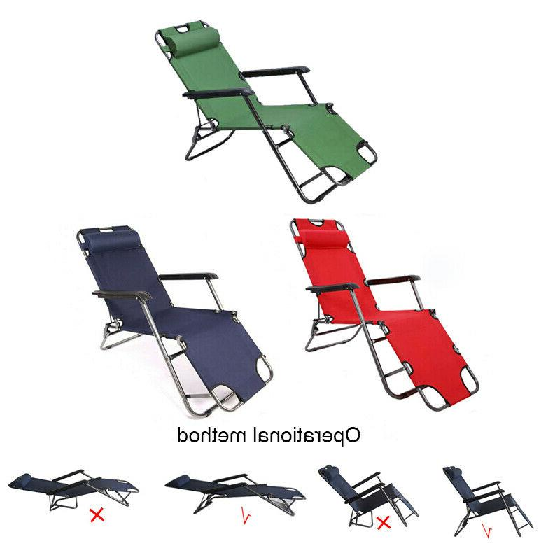 Reclining Beach Chaise Chair Lawn Lounger Foldable Outdoor