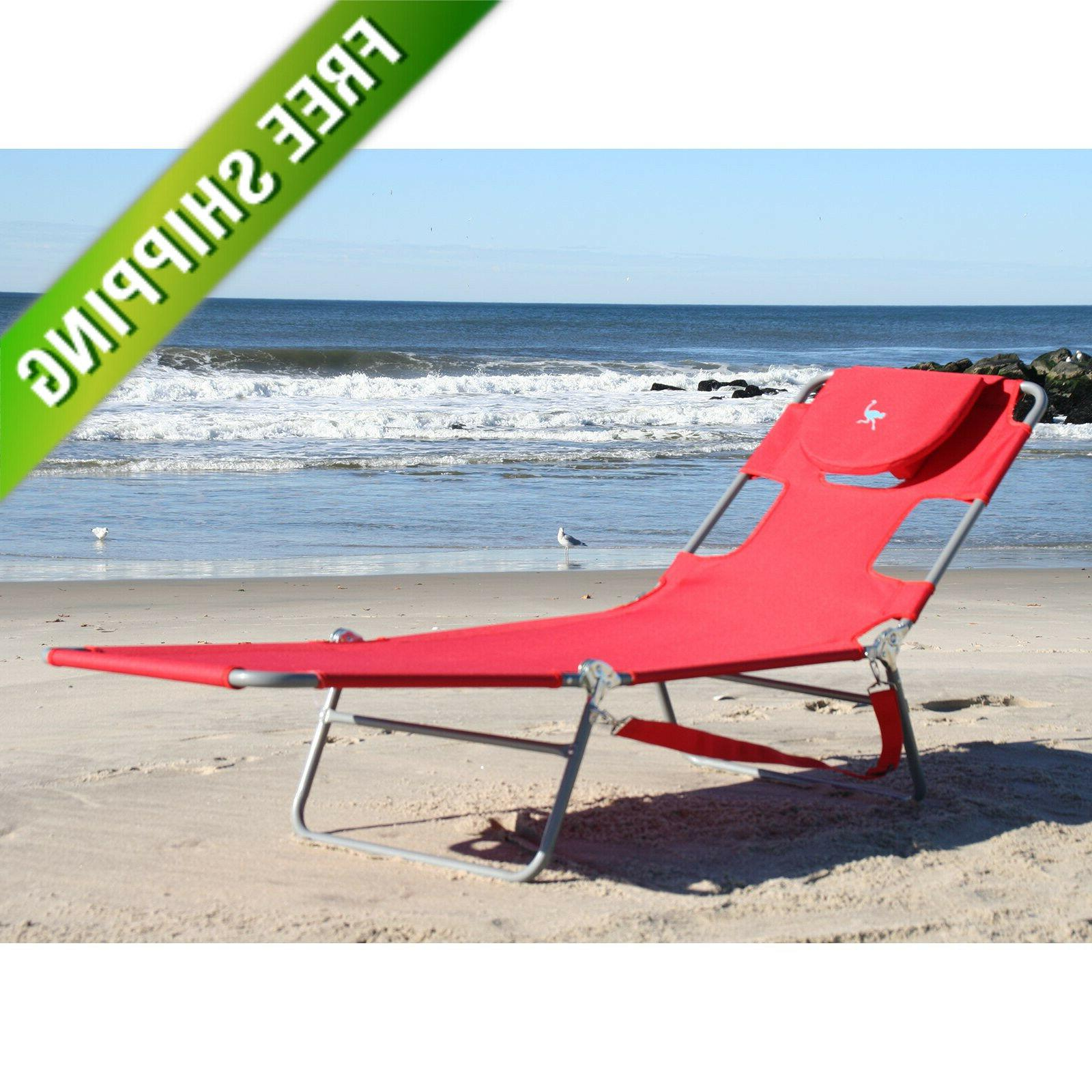 red beach chaise lounge portable folding light
