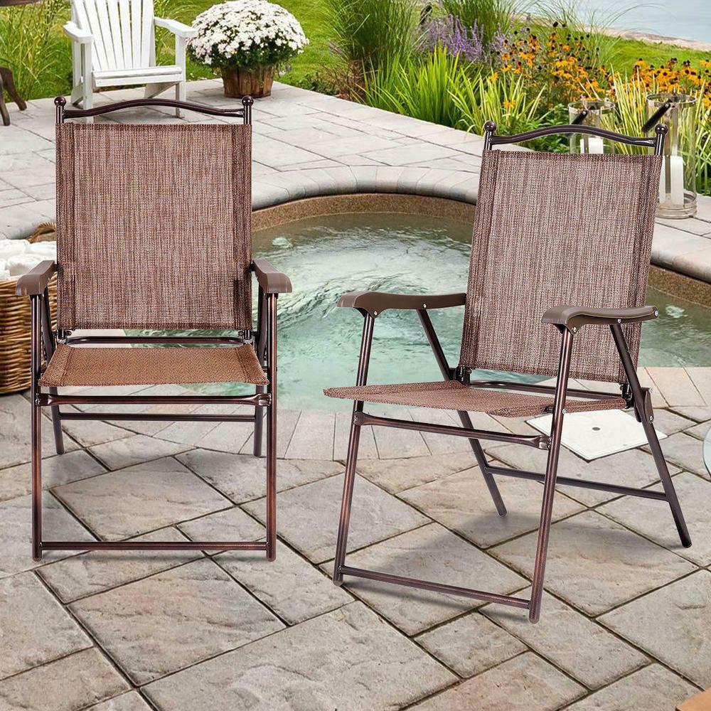 set of 2 patio folding sling back