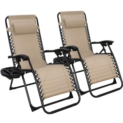 2 Zero Gravity Reclining Chairs Folding Garden Lounge Beach