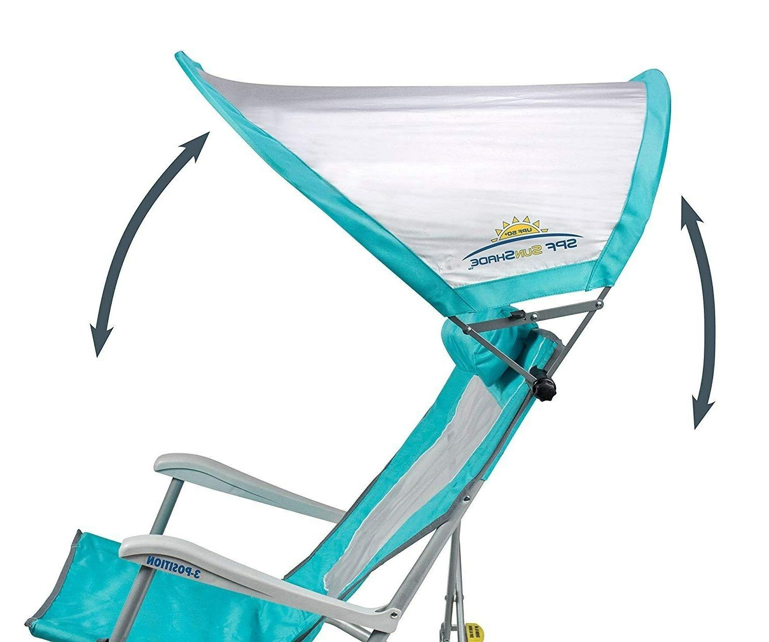 Waterside Sun Shade Folding Beach Chair with Adjustable
