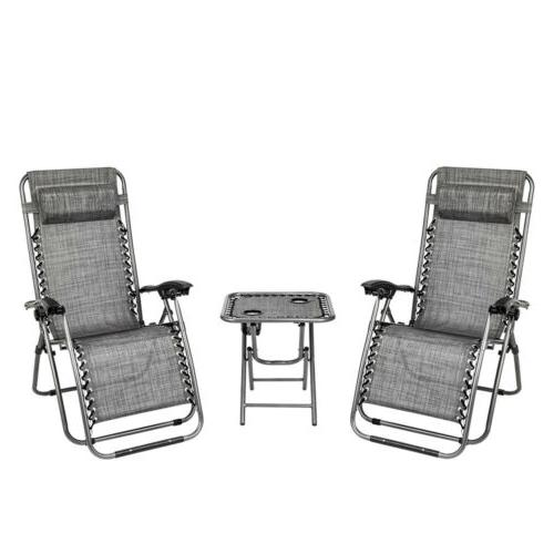 3pcs Zero Gravity Folding Beach Chair Adjustable Patio Loung
