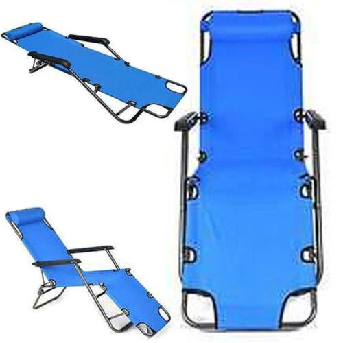 US Zero Gravity Blue Folding Reclining Chair Chaise Lounge R