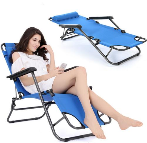 folding reclining chair chaise lounge benche pool