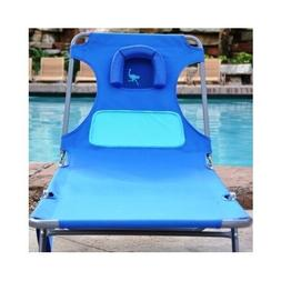 Ladies Chaise Lounge Beach Pool Patio Deck Blue Comfort Loun