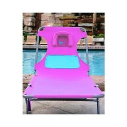Ladies Chaise Lounge Beach Pool Patio Deck Pink Comfort Loun