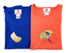 Lot 2 Quacker Factory Womens TShirts Blue Coral 2X Beach Cha