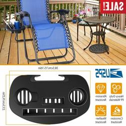 Lounge Chair Side Tray Cup Holder Folding For Outdoor Camp P