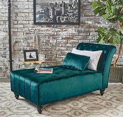 Ilunar Home Lounge Royalty Soft Velvet Tufted Armless Chaise