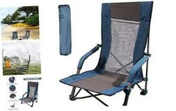 Low Sling Beach Chair, Folding Beach Chair with Low Profile,
