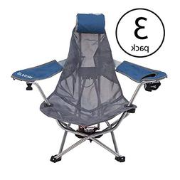 Kelsyus Mesh Folding Backpack Beach Chair with Headrest, Blu