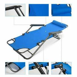 Metal Folding Chaise Lounge Chair Patio Garden Pool Beach La