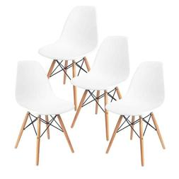 Modern Set of 4 Mid Century DSW Dining Side Chairs Wood Legs