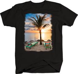 Multicolor Wooden Beach Chairs Ocean Water Palm Trees Relax