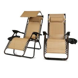 NEW 2 Pcs Zero Gravity Folding Lounge Beach Chairs W/Canopy