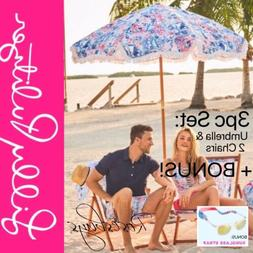 NEW Lilly Pulitzer Set: Beach Umbrella, 2 Sling Chairs Sea T