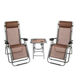 3PC Zero Gravity Folding Beach Recliner Chair Adjustable Pat