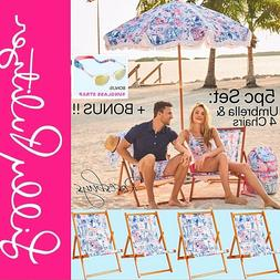 NEW Lilly Pulitzer Set: Beach Umbrella & 4 Sling Chairs Sea