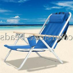 New Backpack Beach Chair Folding Portable Chair Blue Solid C