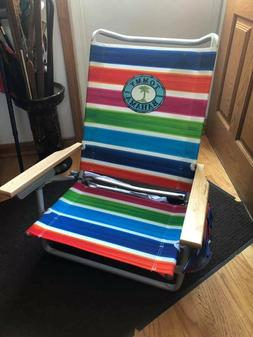 NEW **Tommy Bahama Beach Chair 5 Position Lay-Flat Cup Holde