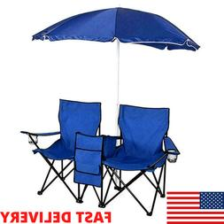 New Foldable Beach Picnic Caping Double Chair And Umbrella T