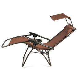 NEW Zero Gravity Folding Lounge Beach Chairs W/ Canopy Magaz