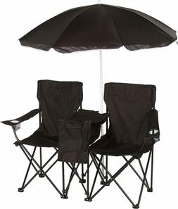 Outdoor Double Folding Camping and Beach Chair With Removabl
