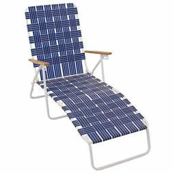 RIO Brands Outdoor Steel Folding Web Chaise Beach Lawn Pool