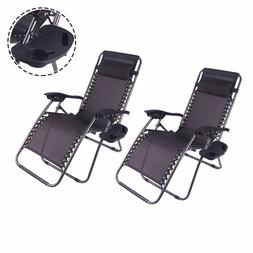2 Outdoor Zero Gravity Lounge Chair Folding Beach Patio Recl