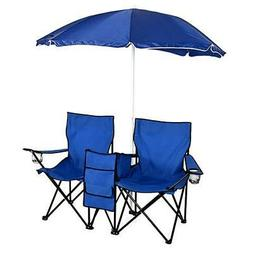 Picnic Double Folding Table Chair With Umbrella Table Cooler