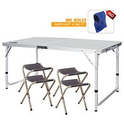 REDCAMP Outdoor Picnic Table Adjustable, Folding Camping Tab