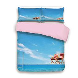 iPrint Pink Duvet Cover Set/Twin Size/Swimming Pool with