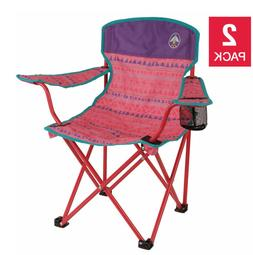 Pink - Kids Quad Chair 2-pack For Camping Beaches Backyard O
