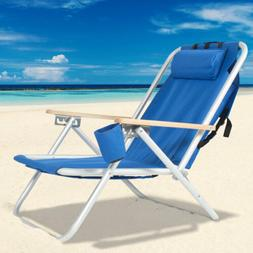 Portable Blue Folding Beach Chair Solid Lounge Patio Chairs