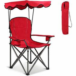 Portable Folding Beach Canopy Chair W/ Cup Holders Bag Campi