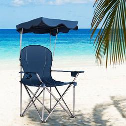 Portable Folding Beach Canopy Chair with Cup Holders RED