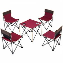 Giantex Portable Folding Camping Table Chairs Set Outdoor Ca
