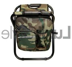 Portable Folding Stool With Insulated Cooler Chair Backpack