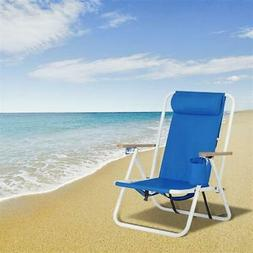 Portable High Strength Beach Chair with Adjustable Headrest