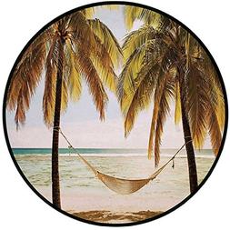 Printing Round Rug,Holiday Decorations,Seascape Hammock Palm