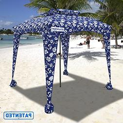 EasyGO Products Beach Umbrella & Sports Cabana, Blue Flowers