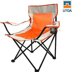 AOTU Outdoor Quad Folding Chair with Armrest Cup Holder Picn