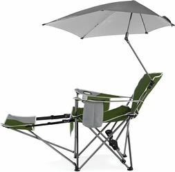 Recliner Chair With Umbrella Easy To Carry Beach,Camping,Par